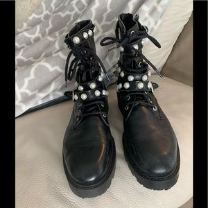 ZARA Leather lace ankle boots with pearl studded